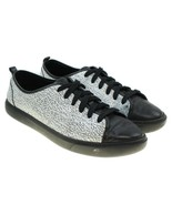 COLE HAAN Grand Womens White Black Leather Crackle Pattern Low Top Sneakers 6.5 - $34.64