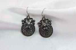 Silver Plate Rhinestone Venetian Pierced Earrings Barrera For Avon - $21.78