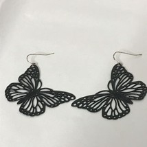 "Black Enamel Metal Butterfly Pierced Earrings Approximately 2"" - $28.59"