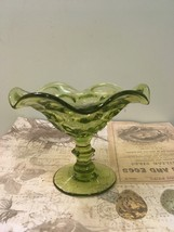 Vintage Fenton Green Glass compote with Honeycomb pattern  - $12.00
