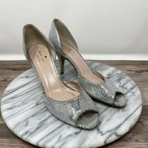 Kate Spade New York Sage D'Orsay Peep Toe Pumps Silver Women's Size 6.5 B - $39.95