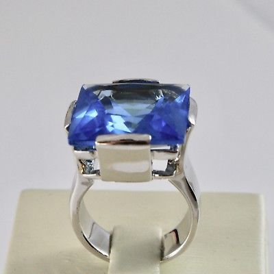 RING BAND 925 SILVER RHODIUM WITH CRYSTAL BLUE SQUARE FACETED