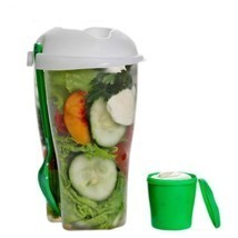 Fresh Salad Container & Dressing Container Fork Lunch Serving Cup Food S... - $9.85