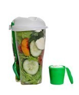 Fresh Salad Container & Dressing Container Fork Lunch Serving Cup Food S... - £7.44 GBP