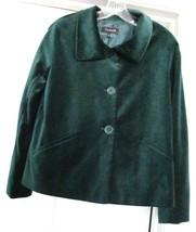 TALBOTS Velour Jacket Coat Retro Style 100% Cotton Green NWT $169. - $59.95