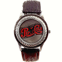 Pepsi Cola Logo Dial Fossil Made, Mens Leather Band Watch, Great Rare Pepsi Gift - $79.05