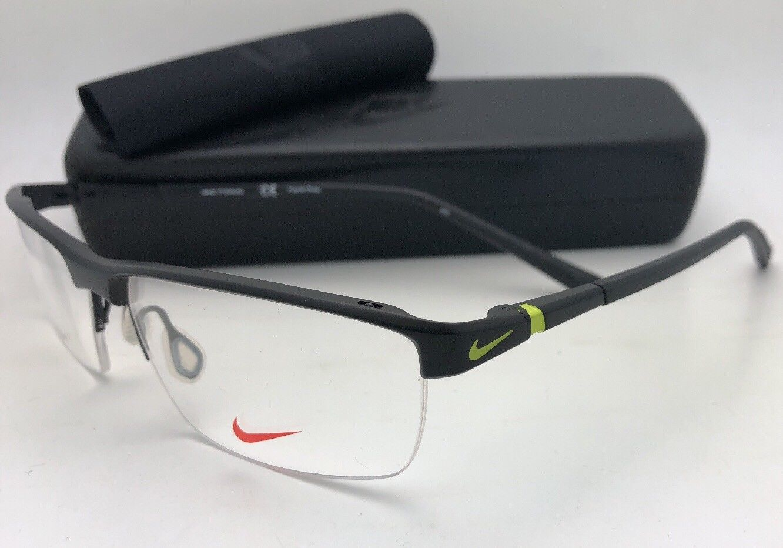 0b86b37ae0 New NIKE Eyeglasses 6052 002 59-15 145 Semi Rimless Black Titanium Frames