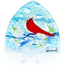 Fused Art Glass Cardinal Chickadee Bird Nightlight Night Light Handmade Ecuador image 3