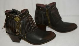 Lucky And Blessed SH 11 Dark Brown Leather Boots Fringe Metal Studs Size 9 image 3