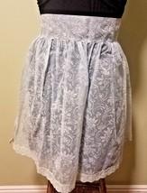 Retro Vintage Light-Blue Transparent Floral Half-Apron for Women w/Lace ... - $12.16