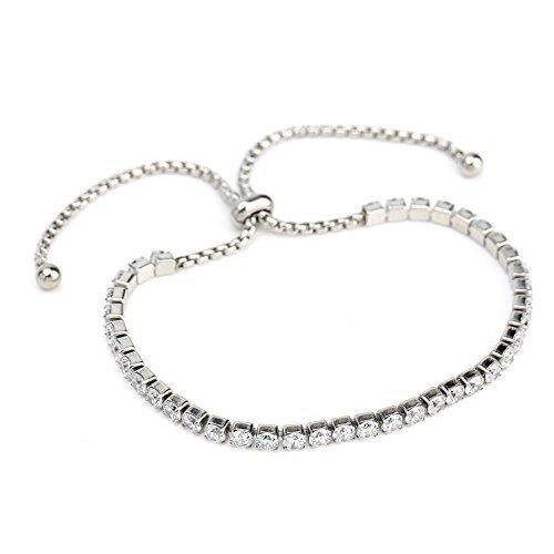 UNITED ELEGANCE Silver Tone Designer Bolo Bracelet With Swarovski Style Crystals