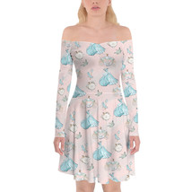 Almost Midnight Cinderella Inspired Off Shoulder Longsleeve Skater Dress - $48.99+