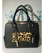 Dune London New Shoulder Bag Purse Lg Black/Leopard Genuine Calf Hair Le... - $96.74