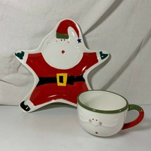 Santa Claus Plate Cup Christmas Dept 56 Snack Set Holidays Milk Cookies Child  - $9.89