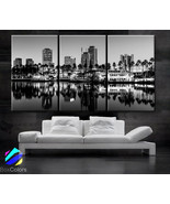 "LARGE 30""x60"" 3 Panels Art Canvas Print Long Beach California City Skyline decor"