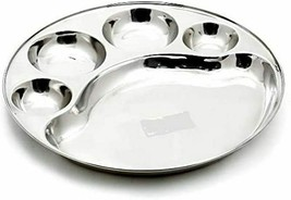 Traditional 6 Piece Stainless Steel 5 compartment Round Thali Plate Bhoj... - $84.50