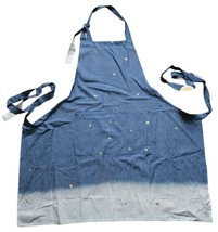 Anthropologie Starry Sky Apron Blue Divided Front Pocket 100% Cotton Sta... - £34.52 GBP