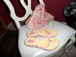 Vera Bradley sun hat and flip flops in Capri Mellon - $45.00
