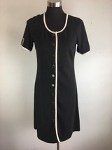 Spense Womens Sheath Dress 6 S Black White Piping Button Front Career Work - $31.49