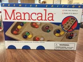 Premier Edition Mancala Folding Finished Board Game Solid Wood Gemstones B29 - $16.44