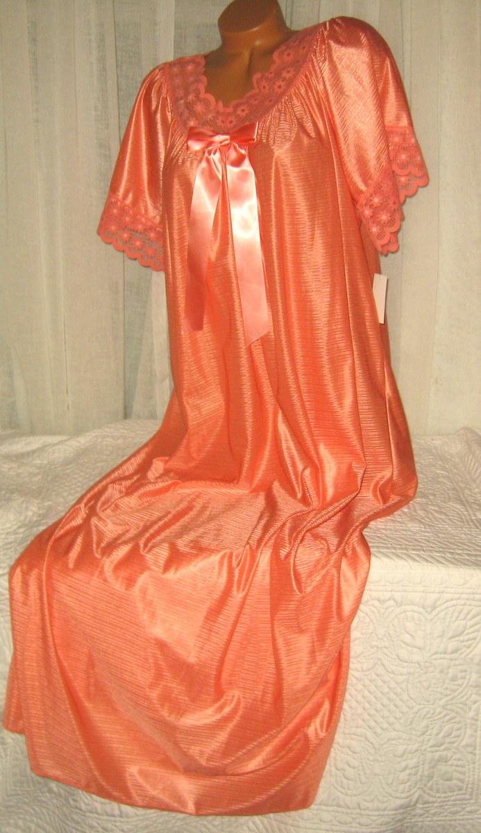 Mandarin Orange Nylon Long nightgown with Bow 2X Lace Trim