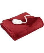 Sunbeam Fleece Heated Throw Red Electric Blanket Heat Warm Soft - £43.27 GBP