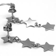 Boucles D'Oreilles Pendantes or Blanc 750 18K, Étoiles Brillant et Satiné, image 2