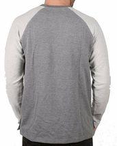 Akomplice Men's Grey Heather Button Fleece Raglan Crew Neck Shirt NWT image 3