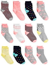 Simple Joys by Carter's Baby Girls' Toddler 12-Pack Sock Crew, Pink/Multi, 2T/3T - $19.19