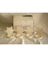 Princess House 2002 Snow Flurries Set Of 4 Tea Light Holders Boxed - $25.19