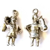 SANTA CLAUS WITH TOY BAG FINE CAST PEWTER CHARM