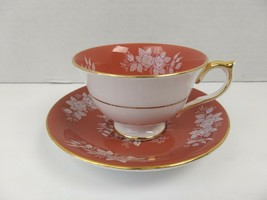 Aynsley Teacup Saucer Roses Gold White China England English Tea Cup - $39.59