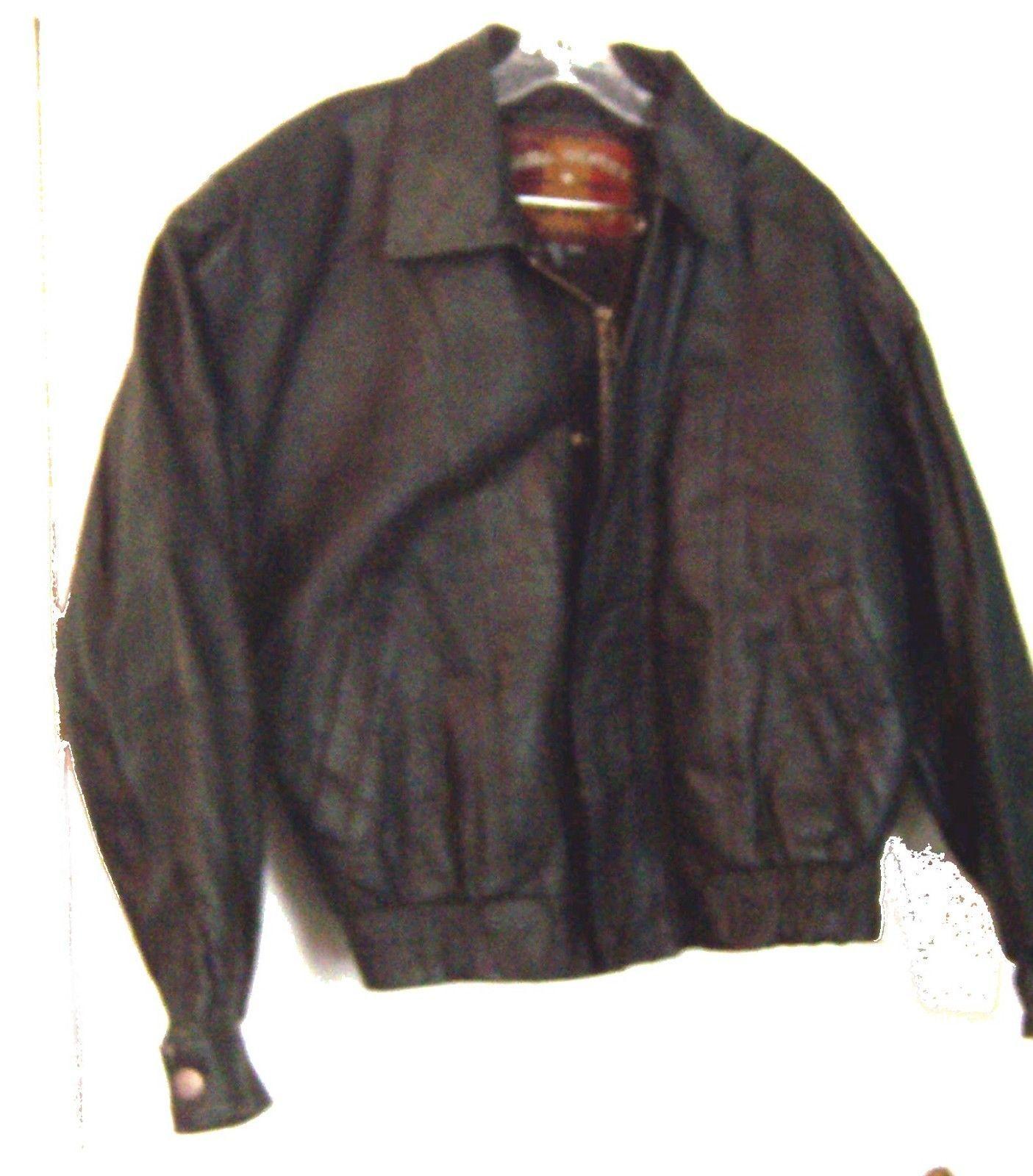 Global Identity Mans Black Leather Zip Up Bomber Jacket Size Medium
