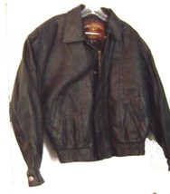 Global Identity Mans Black Leather Zip Up Bomber Jacket Size Medium  - $61.75