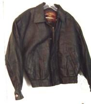 Global Identity Mans Black Leather Zip Up Bomber Jacket Size Medium  - $61.75