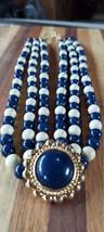 Monet Vintage Runway Three Strand Navy Blue & Cream Bead Choker Necklace - $125.00