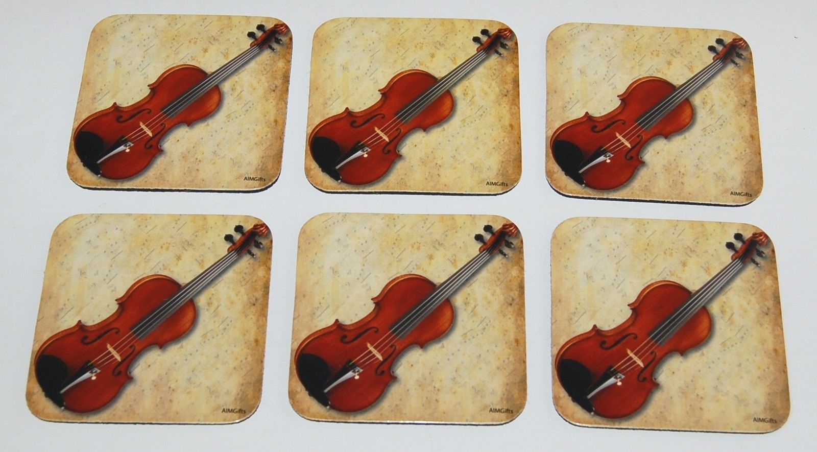 Aimgifts 29891 Violin Coasters Music Sheet Set of 6 Color Brown
