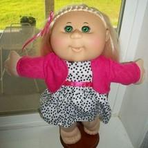 CABBAGE PATCH KIDS 2012 JAKKS GIRL BLONDE W BIG GRN EYES ORIG DRESS SWEA... - $14.84