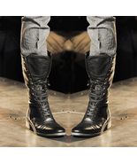 Handmade mens military boots stylish superb leather boots long men leather boots11 thumbtall