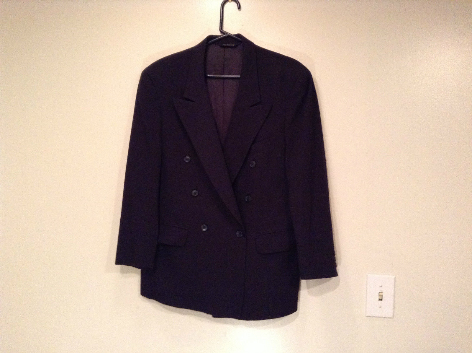 Dark Blue Black Burberry's 100 Percent Wool Suit Coat No Size Tag