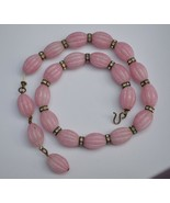 WOW vintage 40's chunky choker pink carved art glass beads rhinestone ro... - $39.59