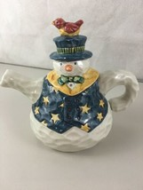 "Sande Elkins Enesco 1997 Snowman Teapot Enesco Corp. 5.5"" High  - $19.75"