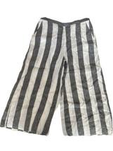 Catherine Malandrino Linen Stripe Crop Pants Women M Capri White Gray Wi... - $24.74