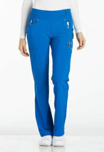 Cherokee Scrubs Mid Rise Straight Leg Pull-On Petite Pant - XS - ROY Royal NEW