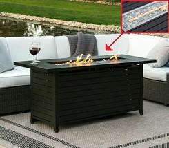 Rectangular Gas Fire Pit Long Outdoor Table Bronze Patio Gas Fire Heater... - $415.70
