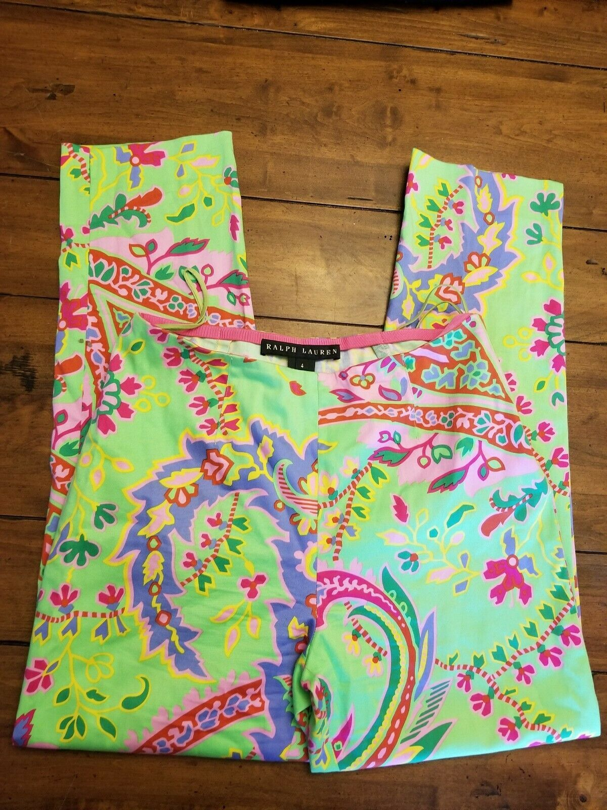Ralph Lauren Black Label Sz 4 Cotton Floral Straight Leg Dress Pants Green Pink