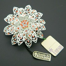 CROWN TRIFARI Gold Tone White Enamel Orange Dot Flower Pin Brooch with Tags - $49.50