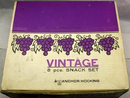 Vintage Anchor Hocking Snack Set Clear Grape Design 4 Plates & Cups with... - $24.49
