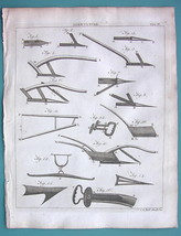AGRICULTURE Farming Scotch Plows Ploughs - 1797 Copperplate Print - $10.71