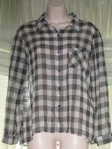 FADED GLORY Womens Sheer Black White Gray Button-Down Checker Top Shirt ... - $8.79